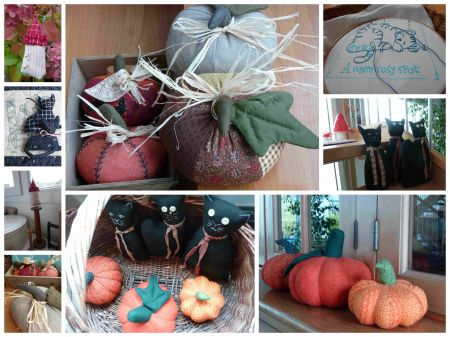 couture,halloween,citrouilles,chats